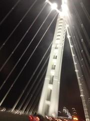 San Francisco Oakland Bay Bridge, easter span, foggy night IMG_1529