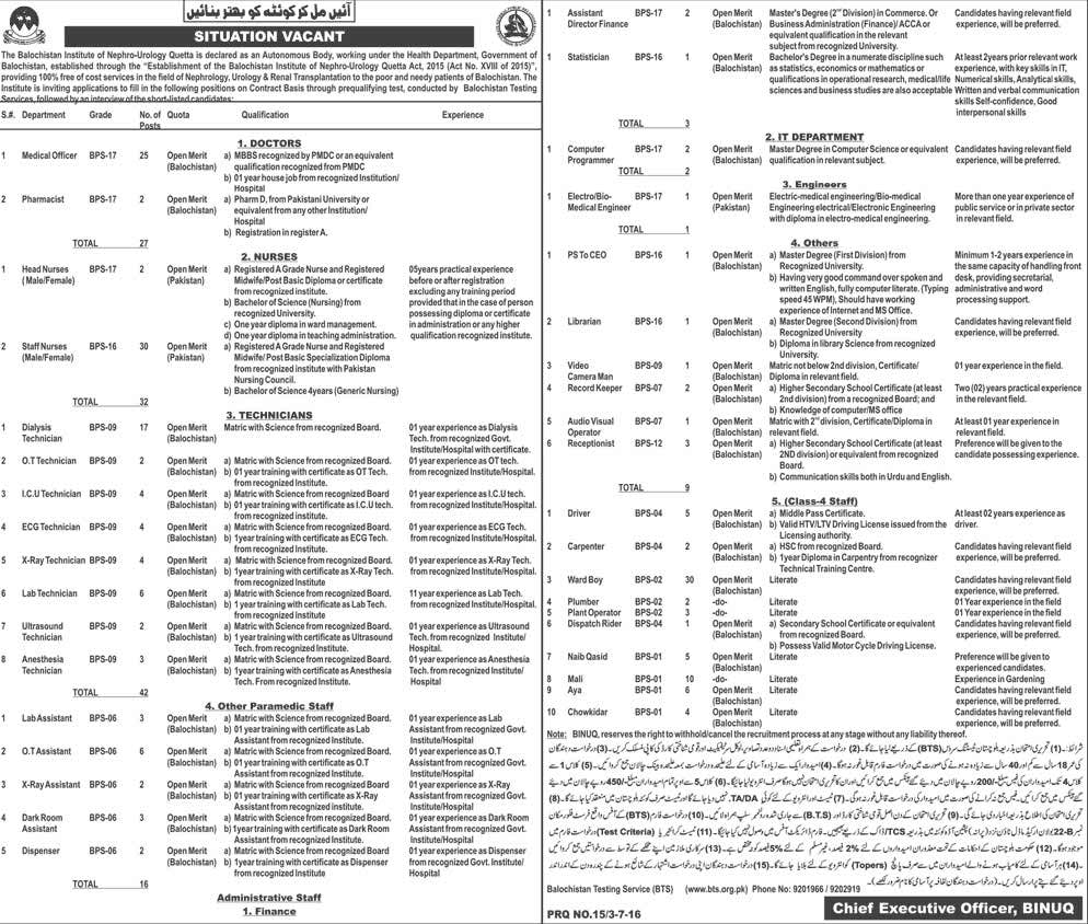 Balochistan Institute of Nephro-Urology Quetta BINUQ Jobs