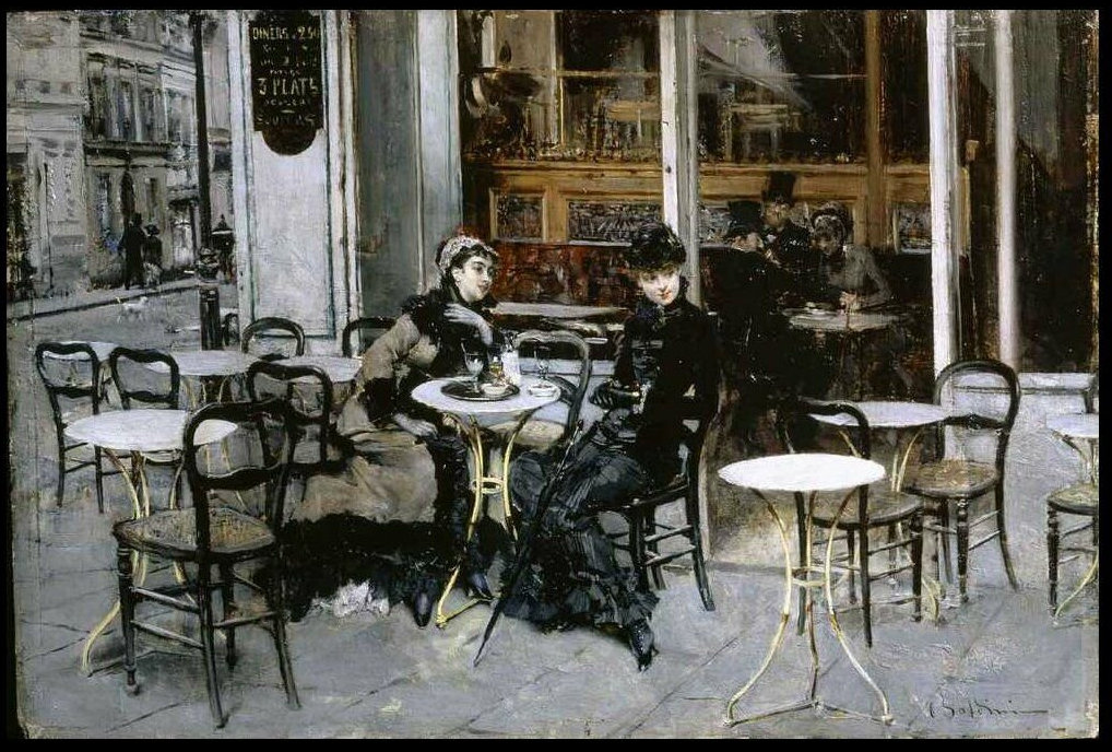 Conversation at the Cafe by Giovanni Boldini - 1877-1878
