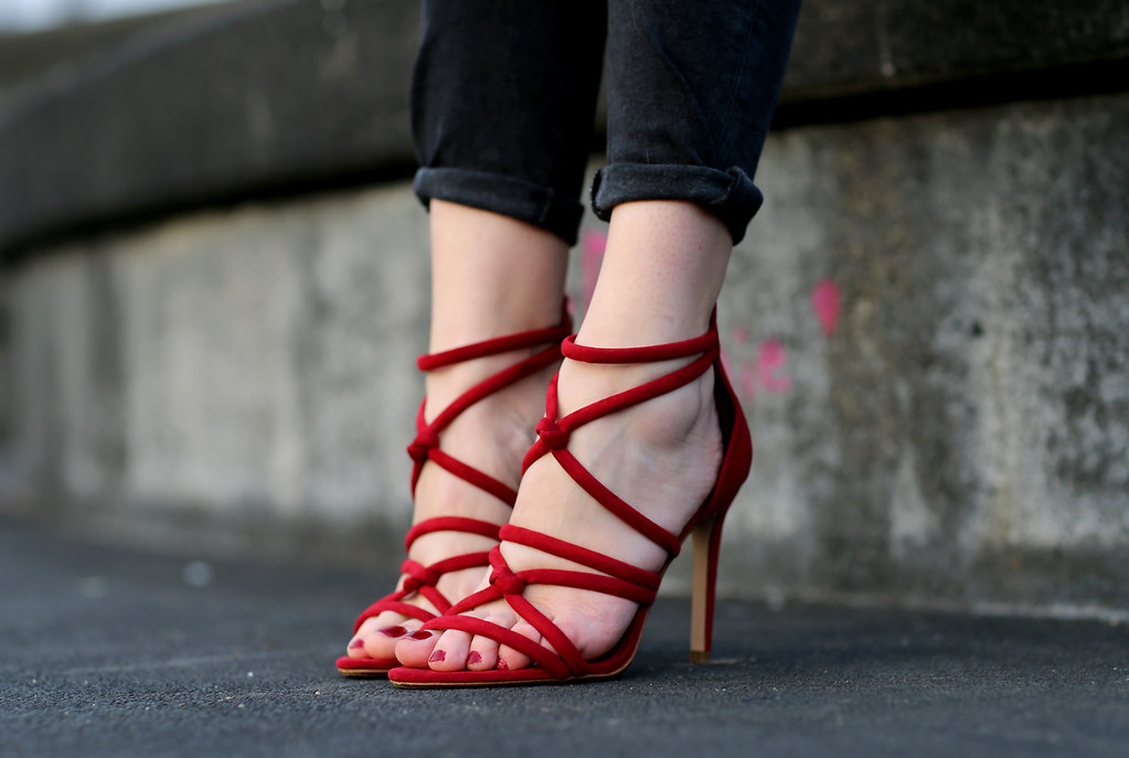 H&M fringed jacket red zara heels