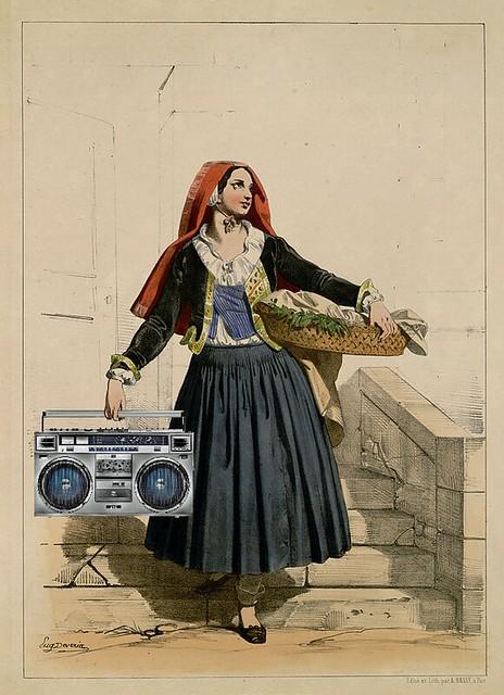 Woman of Eaux-Bonnes Carrying a Basket and a Boombox, after Eugène Devéria
