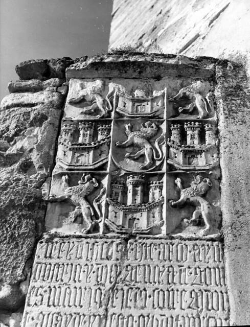 Inscripción Gótica del Puente de Alcántara en 1952. Fotografía de Erika Groth-Schmachtenberger © Universitätsbibliothek Augsburg