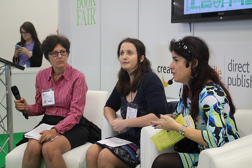 Nicola Solomon (The Society of Authors), Joanna Penn, Lorella Belli - London Book Fair 2015