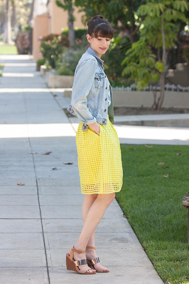 Geo Eyelet Skirt, Loft, Yellow Skirt