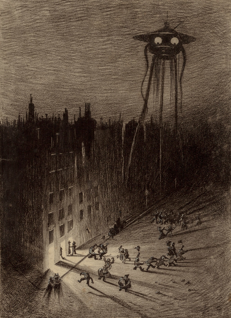 "HENRIQUE ALVIM CORRÊA -Martian Viewing Drunken Crowd, from The War of the Worlds, Belgium edition, 1906 (illustration from Book II - The Earth Under the Martians, Chapter VII - ""The Man on Putney Hill,"")"