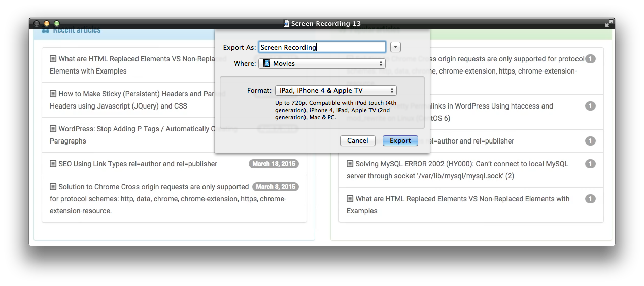 Quicktime Screen Recording Exporter Dialog