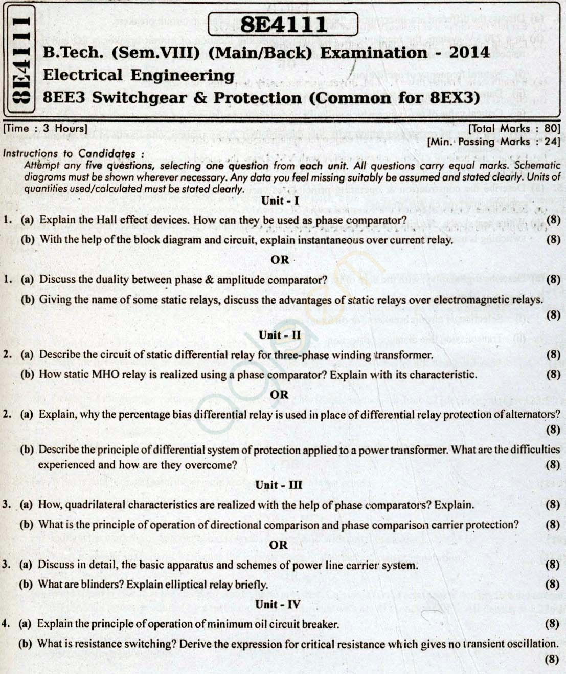 RTU Question Papers   Semester  EE  Switchgear And Protection - Static relay working principle