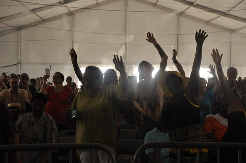 Zion Harmonizers in the Gospel Tent.  Photo by leonstrassbergsteiner.com