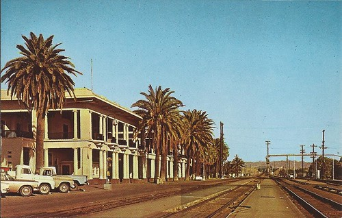 california railroad station train postcard rail railway depot needles atsf santaferailway