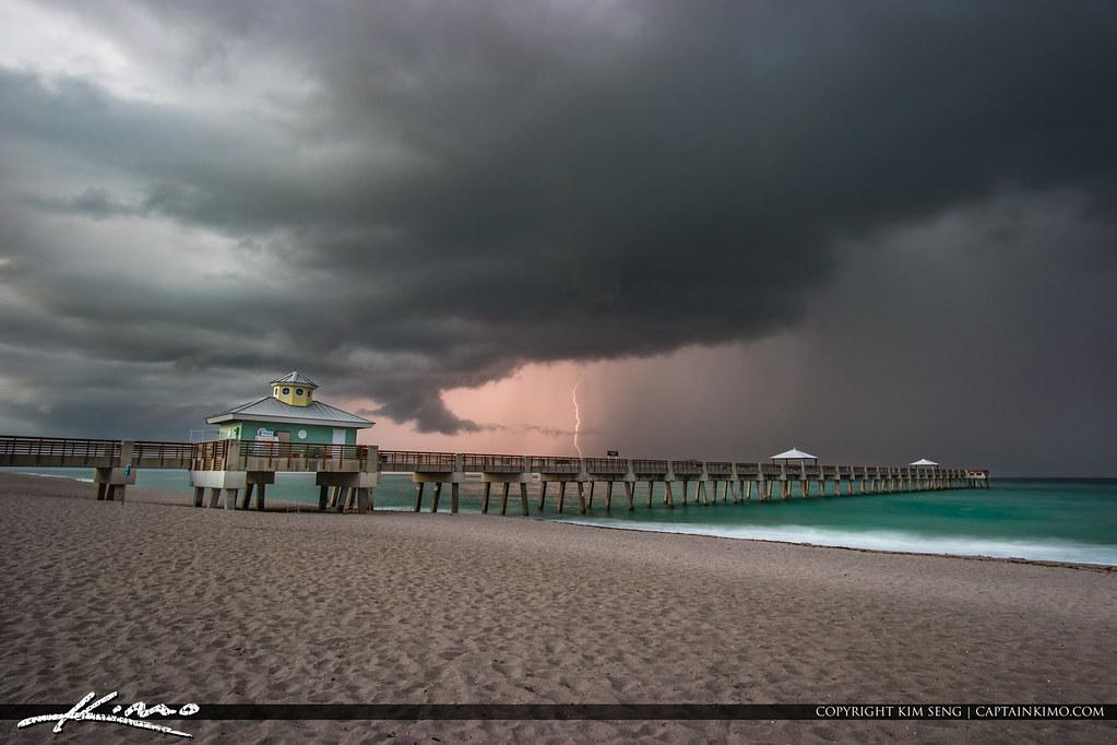 Lightning Over the Juno Beach Pier Last Storm