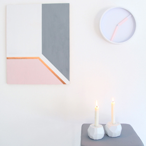 how to create abstract minimal pink copper grey art