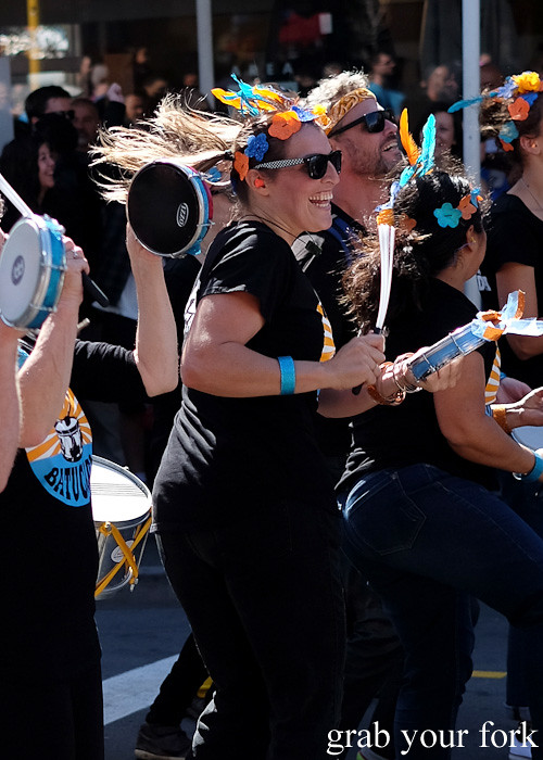 Batucada parade tamborim players at the Cuba Dupa Festival 2015, Wellington