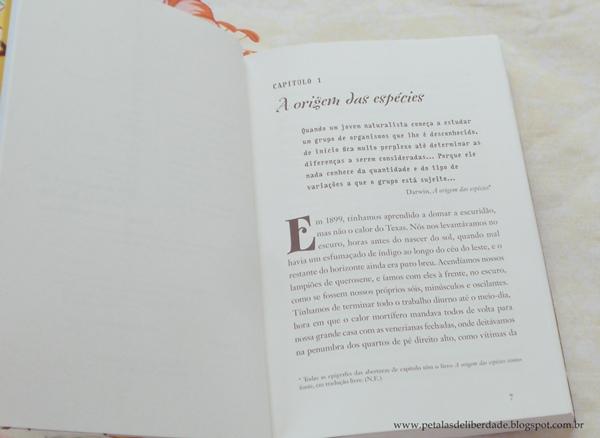 Diagramação do livro A evolução de Calpúrnia Tate, Jacqueline Kelly
