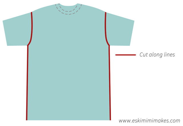Adjusting a t-shirt to fit: Make the initial cuts to remove sleeves
