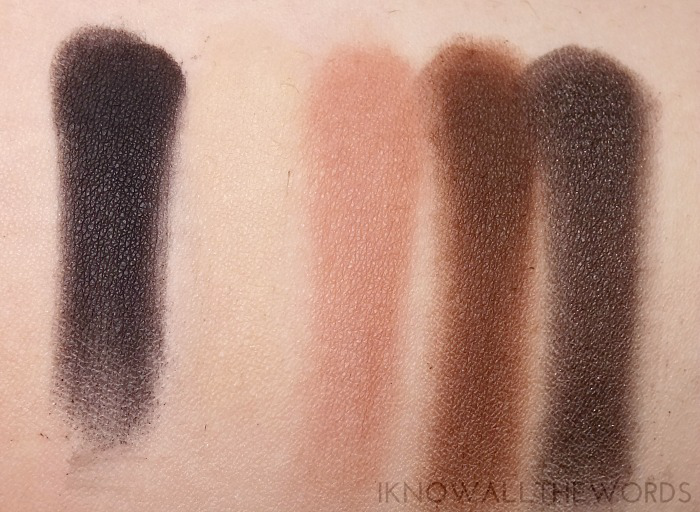too faced semi-sweet chocolate bar palette swatches top row