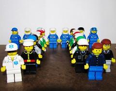 LEGO Minifigures Gather to make Pi Symbol