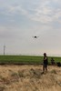 UAV with fiber optic cable