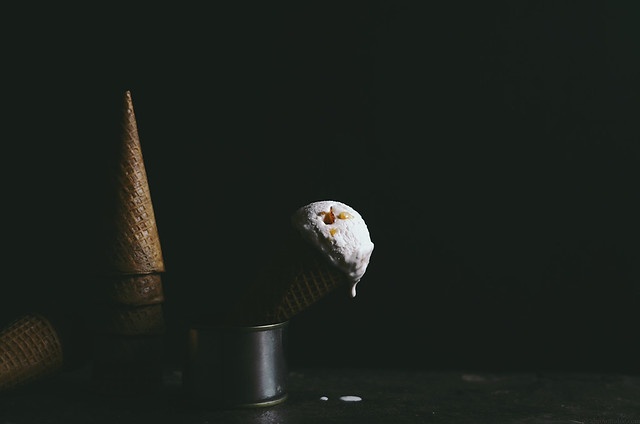Orange Blossom Clove Ice Cream with Candied Blood Orange Freckles | A Brown Table