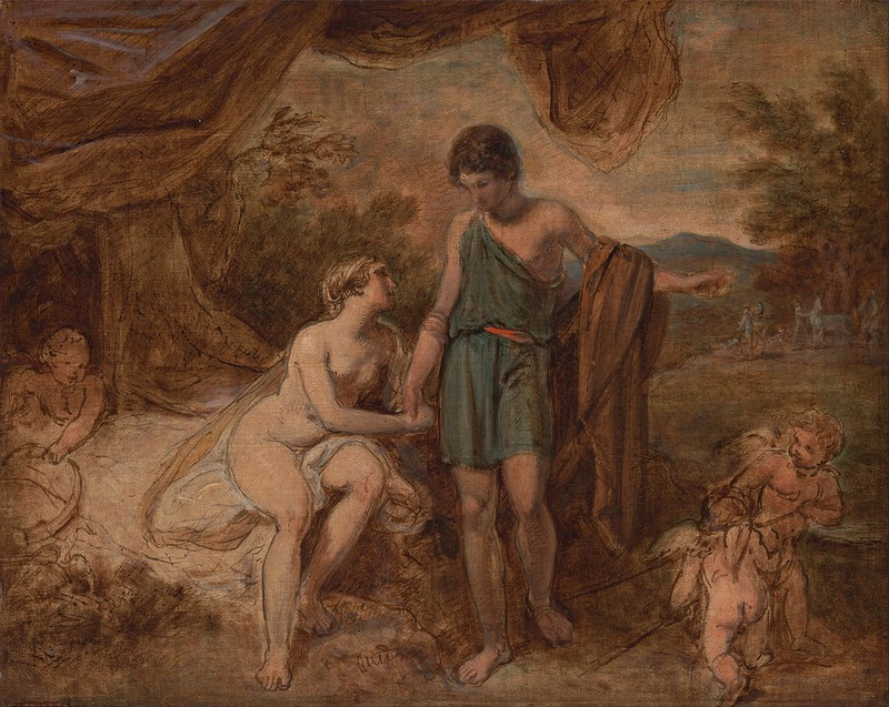 Thomas Stothard - An Unfinished Study of Venus and Adonis (c.1810)