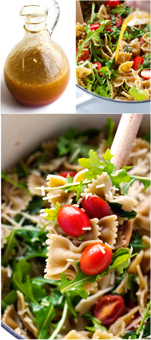 Arugula Pasta Salad - The Easiest Salad you'll ever make. Plus it uses up all those leftovers in the fridge! #pastasalad #leftovers #pasta | Littlespicejar.com