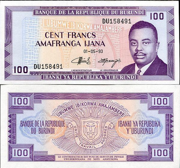 100 Frankov Burundi 1977-93, Pick 29