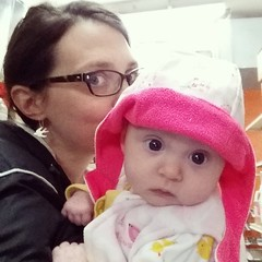 If it stays chilly she might grow into her #purlsoho #winterbabybonnet before I have to make her a sunhat.