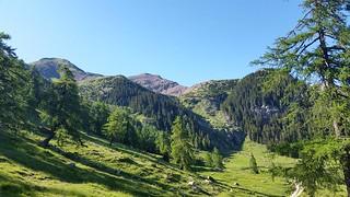 Blick von der Laugenalm zurück auf den Gipfel