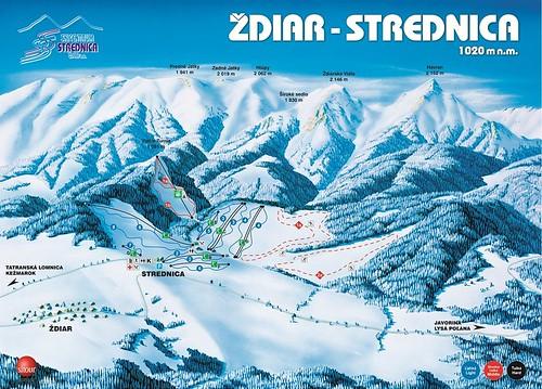 Ždiar - Strednica - mapa sjezdovek