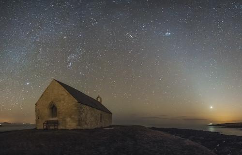 sky church wales night stars landscape venus nightscape medieval clear astrophotography sirius orion astronomy taurus zodiacallight anglesey pleaides llangwyfan aberffraw stcwyfans churchinthesea porthcwyfan eglwysbachymor walescoastpath