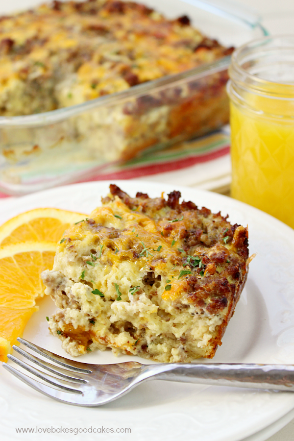 Start your day off right with this Sausage Egg & Waffle Breakfast Casserole! It's such a delicious and simple dish - and it can be made gluten-free! Drizzle it with a bit of maple syrup for a dish that the whole family will love! #ad
