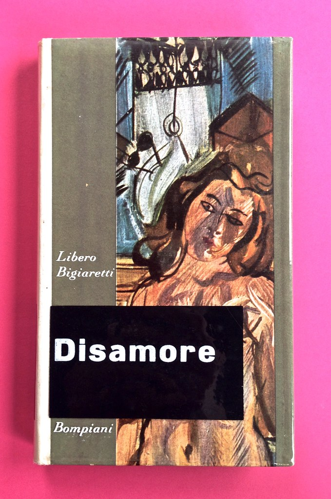 Disamore, di Libero Bigiaretti. Bompiani 1964. [Responsabilità grafica non indicata]. Prima di sovracoperta (part.), 1