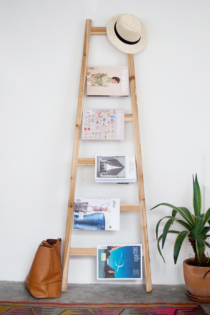 quick diy ladder magazine rack a pair a spare