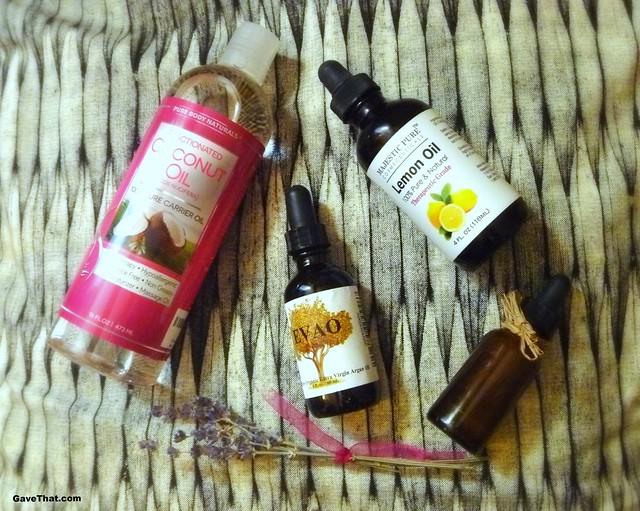 Coconut Argan Lemon oils and lavender