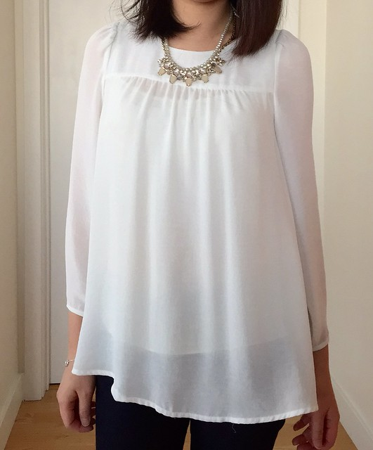 3/12 #ootd - Zara blouse (old) & LOFT Neutral Rondelle Chain Necklace