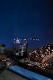 Chocolate, cherry and Amaretto tart.