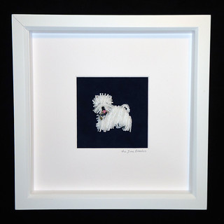 WESTIE LOVE Framed Bead Embroidered Pet Portrait- West Highland White Terrier Beaded Dog Art- 8x8 shadowbox