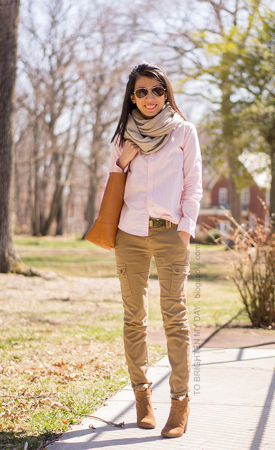 chunky knit scarf, pink striped shirt, camo belt, cargo pants, brown suede ankle boots
