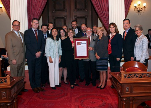 Members from San Diego Regional EDC and LAEDC gather with legislaters in Sacremento to show support for the state's aerospace industry
