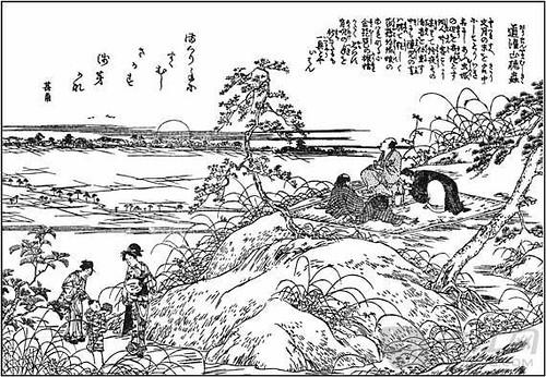 《江戶名所圖會‧道灌山聽蟲》描繪了幾個有閒情雅致之士側耳傾聽蟲鳴的景象。