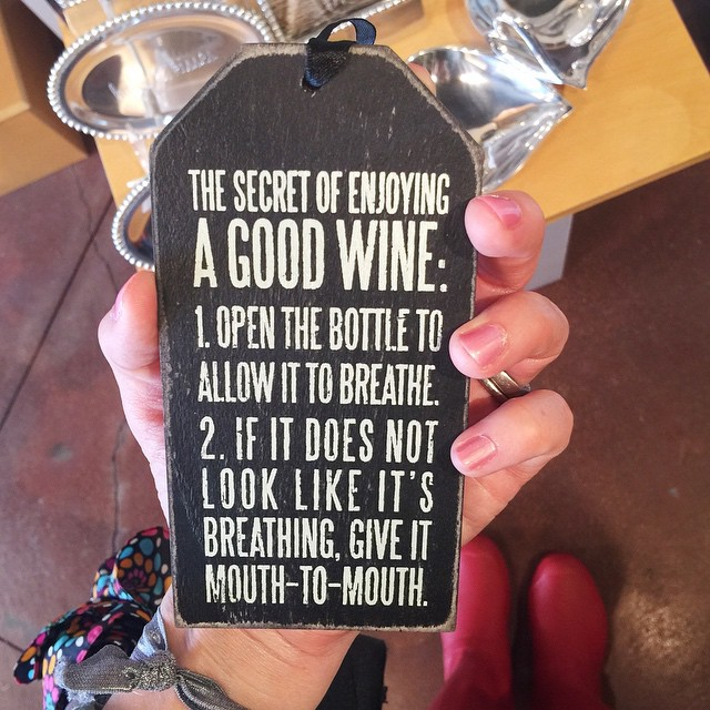Found the cutest little wine tag for my gold bar cart. I just love collecting things with funny wine sayings on them!! 🍷🍷🍷 such a fun day so far!!
