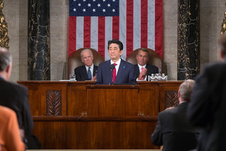 Prime Minister Shinzo Abe is the first Japanese leader to address a joint meeting of Congress.