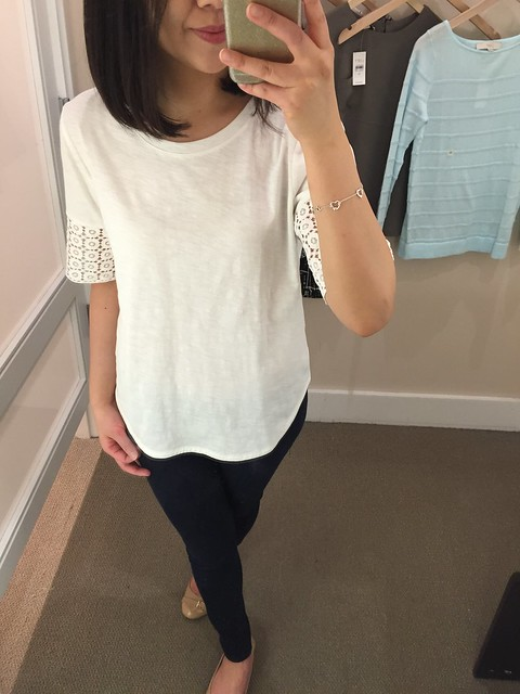 LOFT Lace Sleeve Tee, size XS