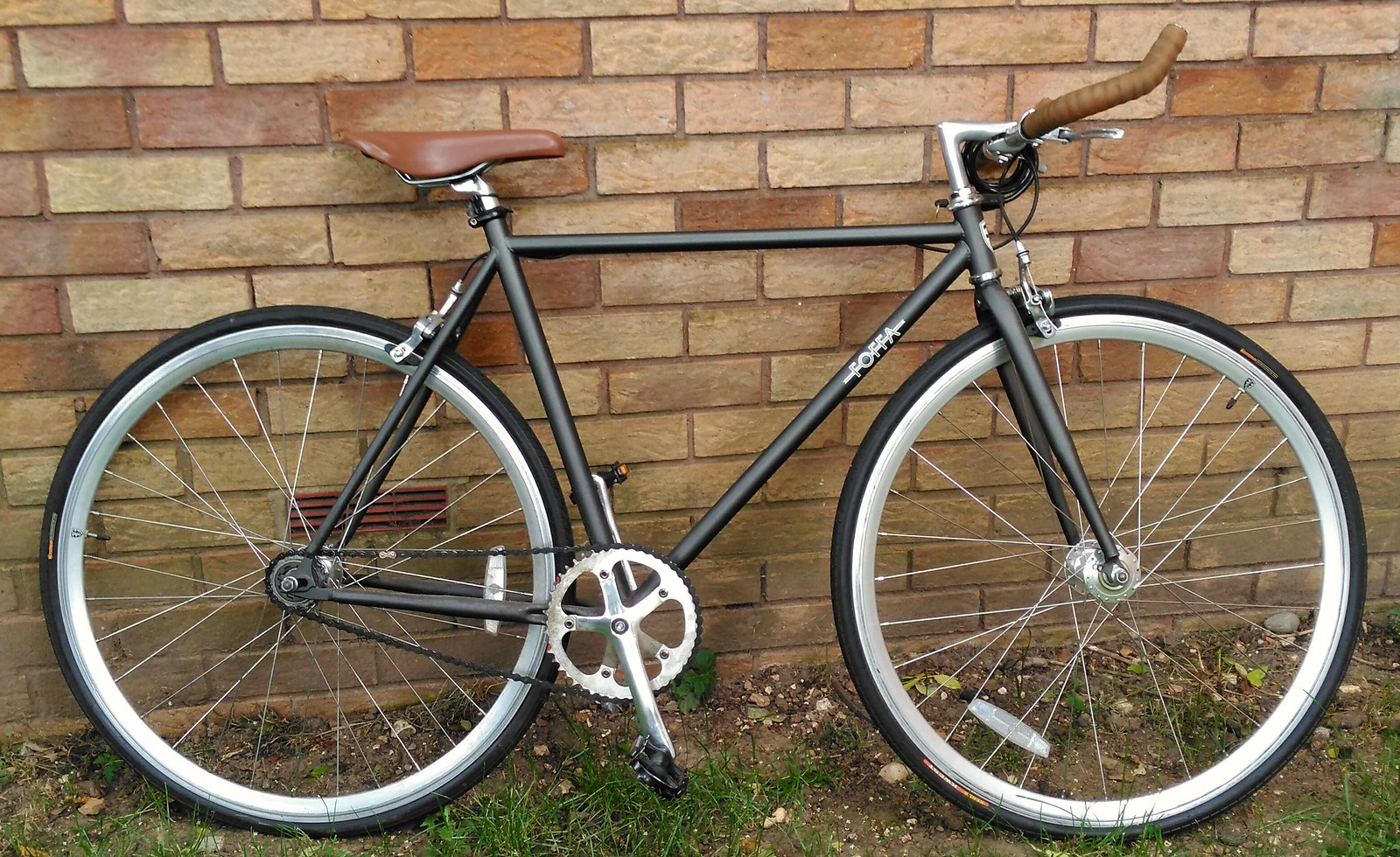 foffa one grey single speed bicycle fixie