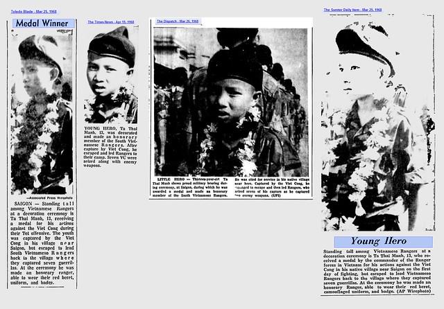 Vài hình ảnh trên báo nước ngoài năm 1968 về Tạ Thái Mạnh nhận thưởng huy chương