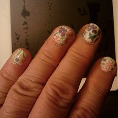 Dollar Tree 'nail stickers'. Good to try before the exlensive pnes!