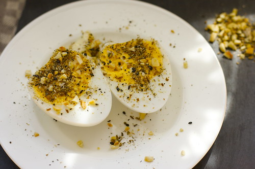 Duck eggs with dukkah