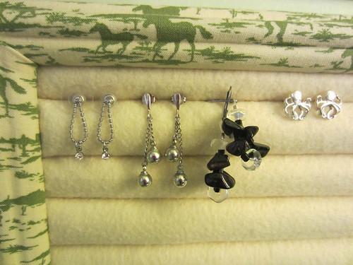 fabric-covered earring rack
