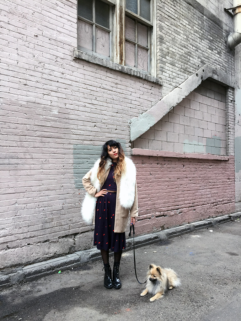 The WhitePepper Red Bean Matching Set, Nasty Gal Fur Stole Scarf, Missguided Jacket, Zara boots