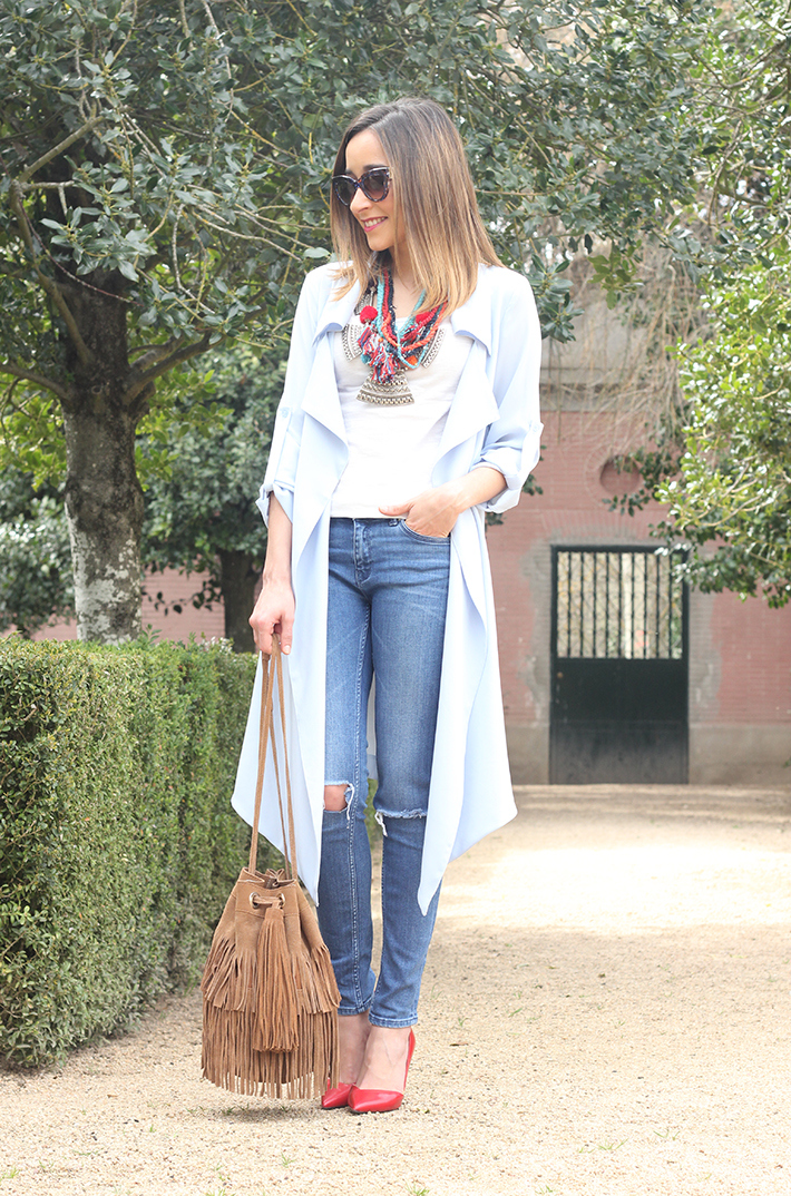 blue trench jeans zara fringe bag14