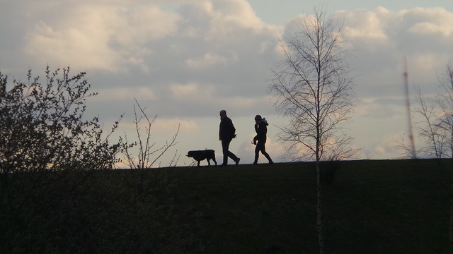 Another Watercolour Silhouette - Mar 2015 - Ian & Claire Walking the Dog